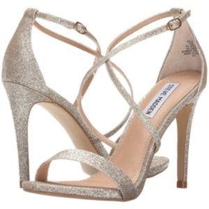 STEVE MADDEN Felix Gold Glitter Strappy Heels 8.5